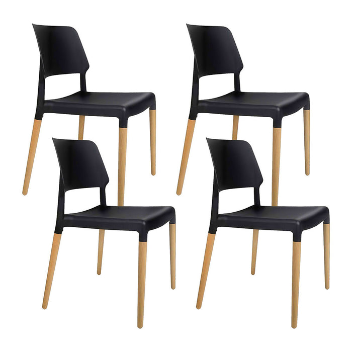 Artiss Set of 4 Wooden Stackable Dining Chairs - Black - b-organized