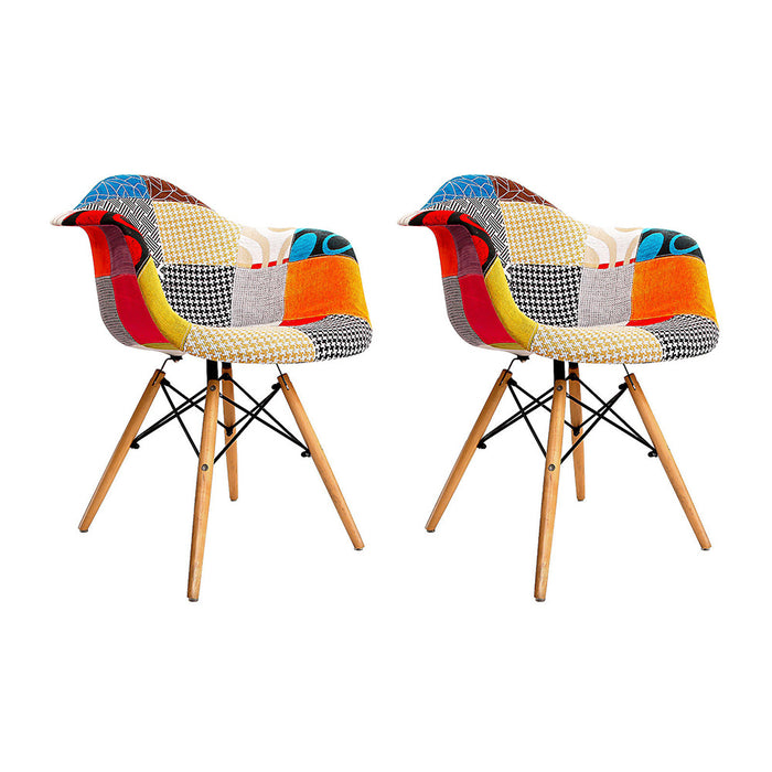 Artiss Set of 2 Fabric Dining Chairs - b-organized