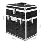 Embellir Portable Cosmetic Beauty Makeup Carry Case with Mirror - Crocodile Black - b-organized