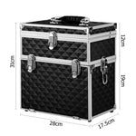 Embellir Portable Cosmetic Beauty Makeup Carry Case with Mirror - Diamond Black - b-organized
