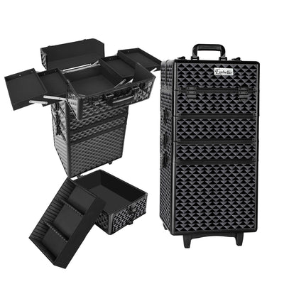 Embellir 7 in 1 Portable Cosmetic Beauty Makeup Trolley - Diamond Black - b-organized