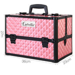 Embellir Portable Cosmetic Beauty Makeup Case with Mirror - Diamond Pink - b-organized