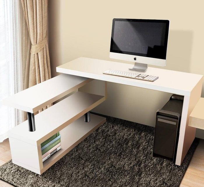 Artiss Rotary Corner Desk with Bookshelf - White - b-organized