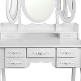 Artiss 7 Drawer Dressing Table with Mirror - White - b-organized