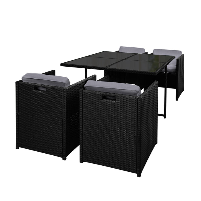 Gardeon 5 Piece Wicker Outdoor Dining Set - Black - b-organized
