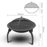 Grillz 30 Inch Portable Foldable Outdoor Fire Pit Fireplace - b-organized
