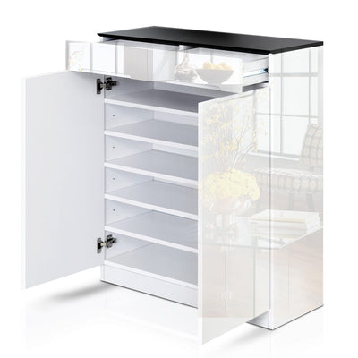 Artiss High Gloss Shoe Cabinet Rack- Black & White - b-organized