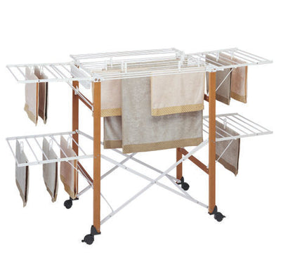 Gulliver Wood Clothes Airer Folding Drying Rack Winged Drying Space Multifunctional Air Dryer Foldable Adjustable Premium Quality Durable - b-organized