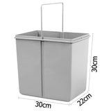 Set of 2 15L Twin Pull Out Bins - Grey - b-organized