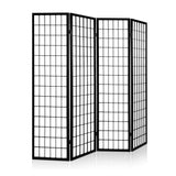 Artiss 4 Panel Wooden Room Divider - Black - b-organized
