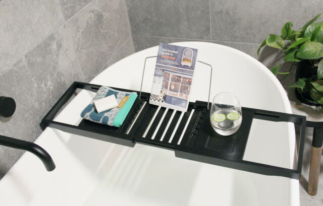 Butlers Banyan Bath Caddy Black - Perfect to relax with your favourite wine on hand - b-organized