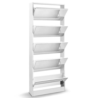 Artiss 5 Drawer Mirrored Wooden Shoe Cabinet - White - b-organized