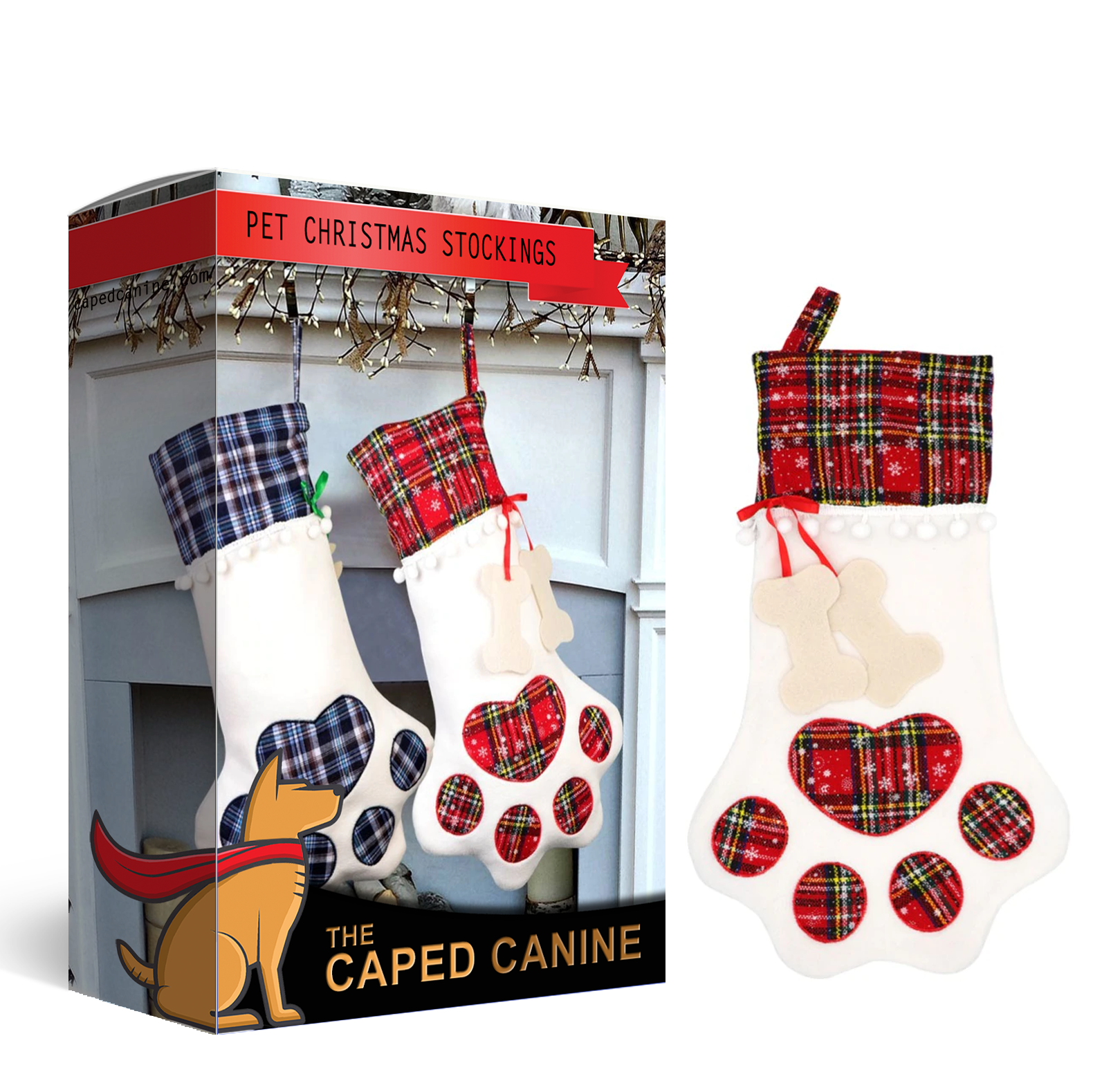 1852337579e Large Plaid Paw Christmas Stocking for Dog (or cat) is PERFECT for the  Holidays ...