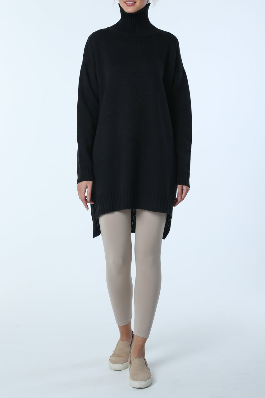 Asymmetric cut sweater with high neck (black)