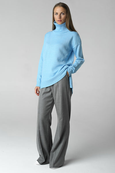 Asymmetric cut sweater with high neck (blue)