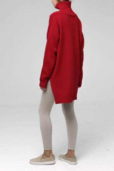 Asymmetric cut sweater with high neck (red)