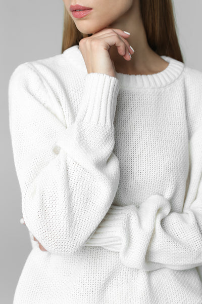 Classic thin jumper honeycomb pattern (white)