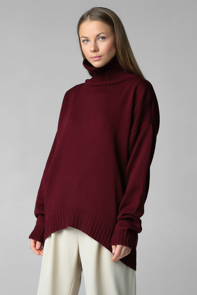 New asymmetric cut sweater (wine)