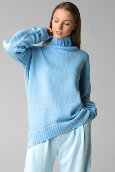 New asymmetric cut sweater (blue)