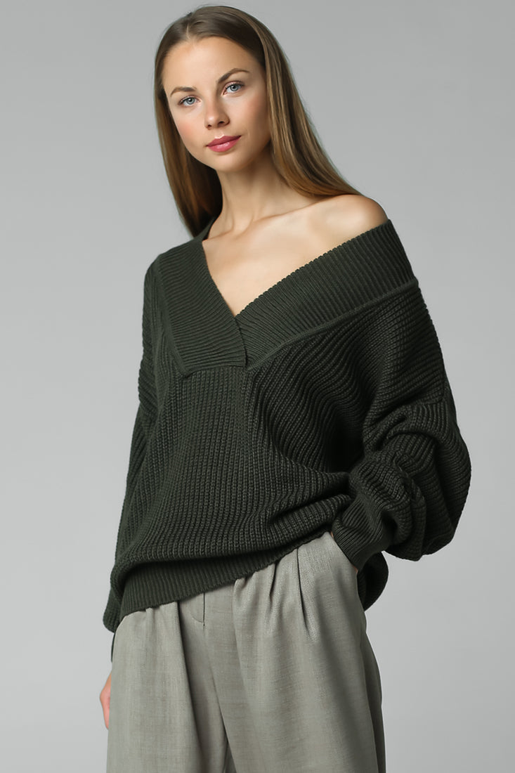 Jumper with open shoulders (green)