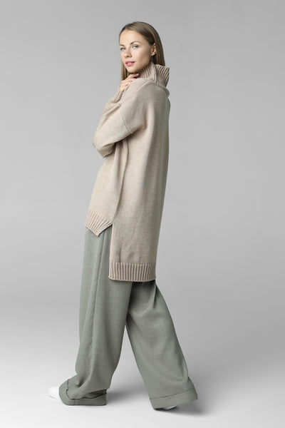 Asymmetric cut sweater with high neck (beige)