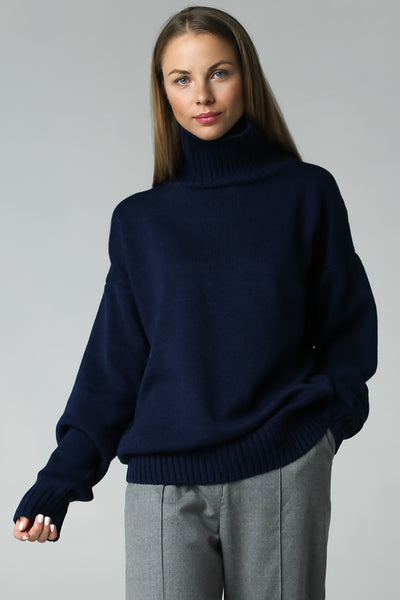 Sweater with high neck (dark blue)