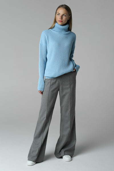 Rib-knit sweater with neck (blue)