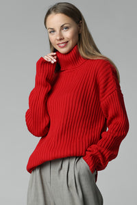 Rib-knit sweater with neck (red)