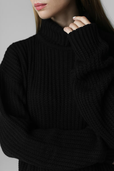 Big sweater with neck (black)