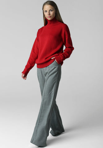Sweater with high neck (red)