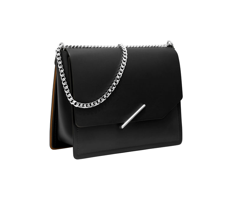 Novae Res Jemison Major Leather Handbag made with Black Leather and Silver Hardware with Chain Strap Profile View