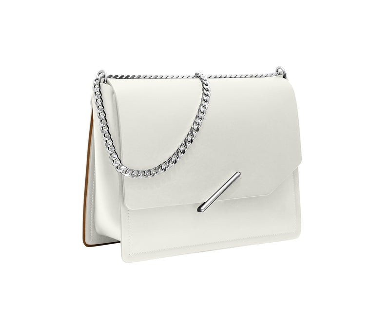 Novae Res Jemison Major Leather Handbag made with White Leather and Silver Hardware with Chain Strap Profile View