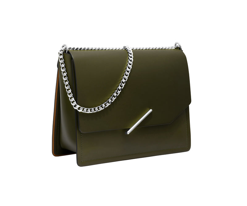 Novae Res Jemison Major Leather Handbag made with Green Leather and Silver Hardware with Chain Strap Profile View