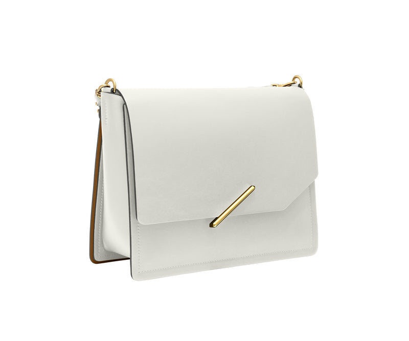 Novae Res Jemison Major Leather Handbag made with White Leather and Gold Hardware with Short Strap Profile View