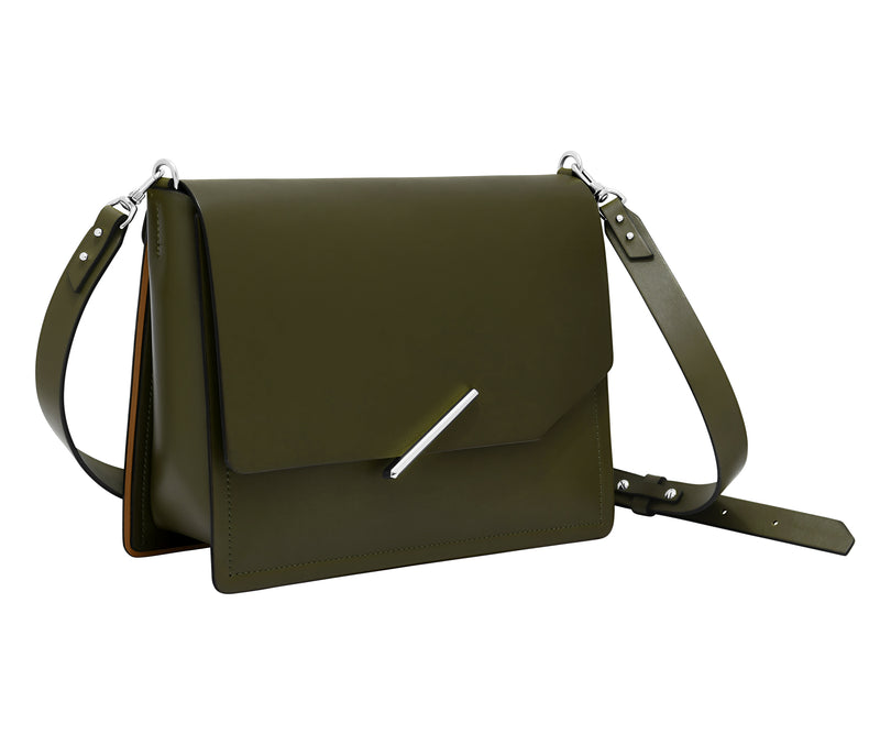 Novae Res Jemison Major Leather Handbag made with Green Leather and Silver Hardware with Crossbody Strap Profile View