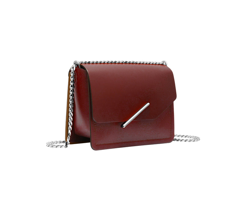 Novae Res Jemison Minor Leather Handbag made in Red Leather and Silver Hardware with Chain Strap Profile View