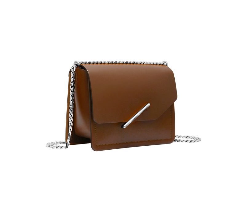 Novae Res Jemison Minor Leather Handbag made in Brown Leather and Silver Hardware with Chain Strap Profile View