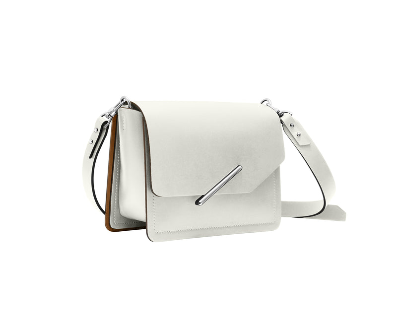 Novae Res Jemison Minor Leather Handbag made in White Leather and Silver Hardware with Crossbody Strap Profile View