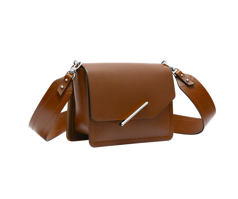 Novae Res Jemison Minor Leather Handbag made in Brown Leather and Silver Hardware with Wide Long Strap Profile View