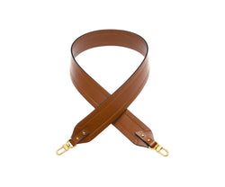 Novae Res Wide Long Handbag Strap in Brown Leather with Gold Hardware
