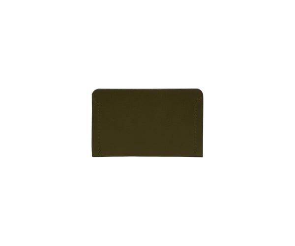 Novae Res Card Wallet in Green Leather Back View