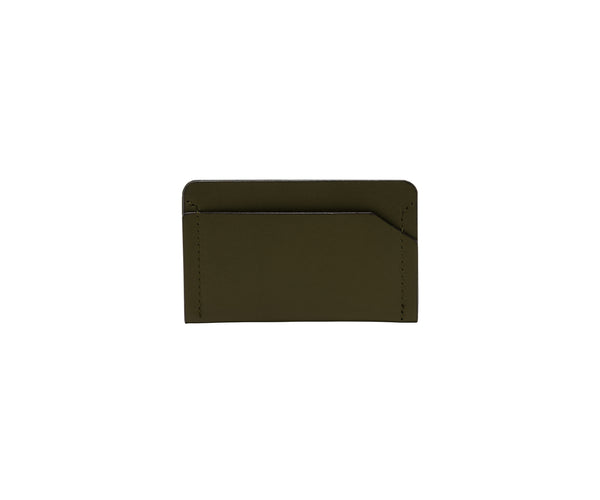 Novae Res Card Wallet in Green Leather Front View