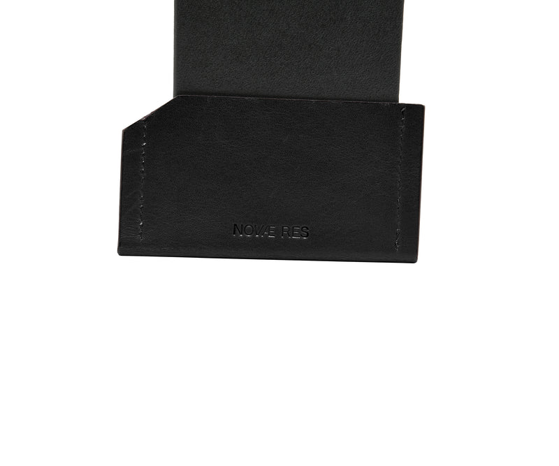 Novae Res Card Wallet in Black Leather Detail View