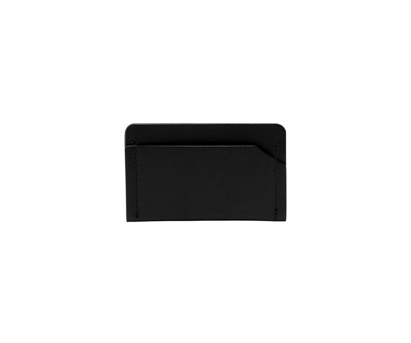 Novae Res Card Wallet in Black Leather Front View
