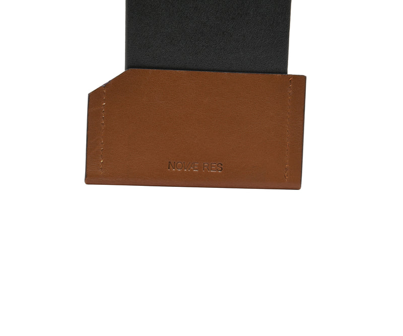 Novae Res Card Wallet in Brown Leather Detail View