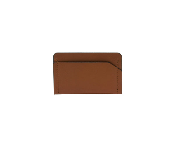 Novae Res Card Wallet in Brown Leather Front View