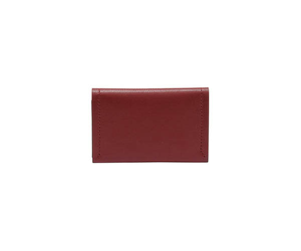 Novae Res Double Fold Wallet in Red with Gold Hardware Front and Back View