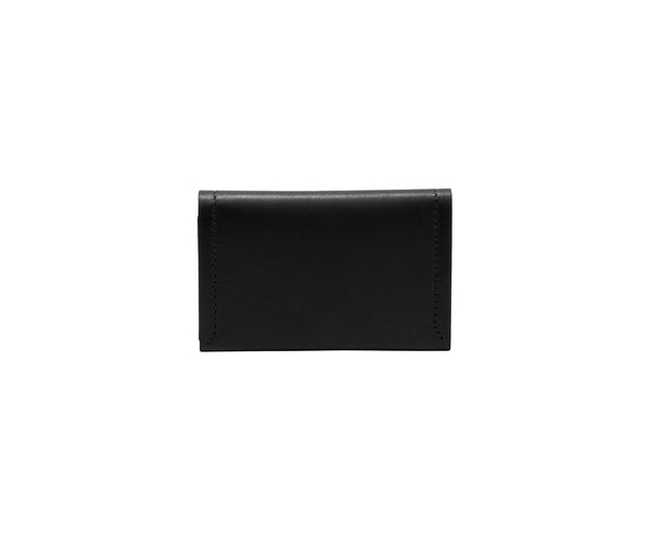Novae Res Double Fold Wallet in Black Leather with Gold Hardware Front and Back View