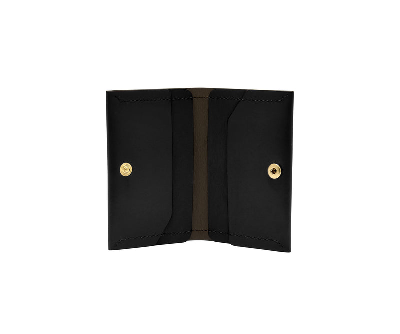 Novae Res Double Fold Wallet in Black Leather with Gold Hardware Inside View