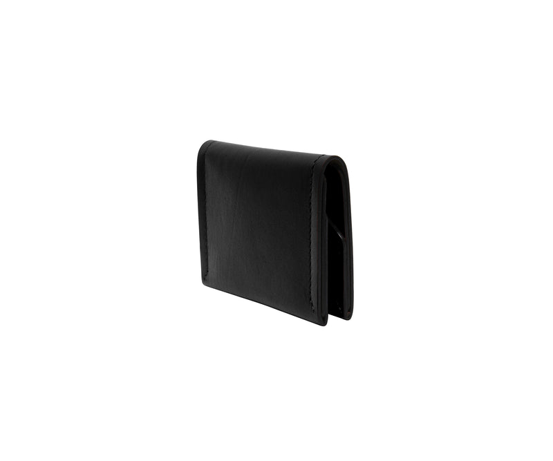 Novae Res Double Fold Wallet in Black Leather with Gold Hardware Side View